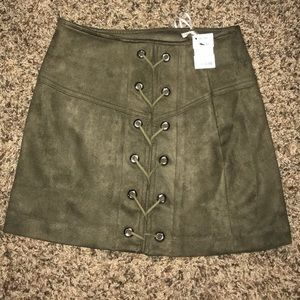 Brand new OLIVE GREEN SUEDE SKIRT! NWT!